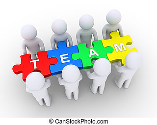 People holding a team puzzle