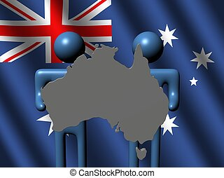 people holding Australian map sign flag
