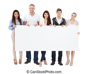 People Holding Billboard On White Background