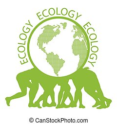 People holding ecology planet vector background concept