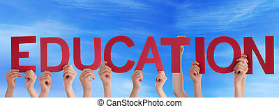 People Holding Education in the Sky