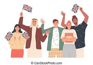 People holding English flags. Studying English. Language ...