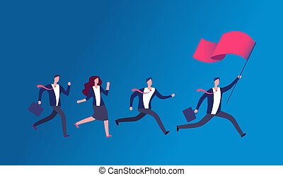 People holding flag and running. Business leader leading office team. Leadership vector concept