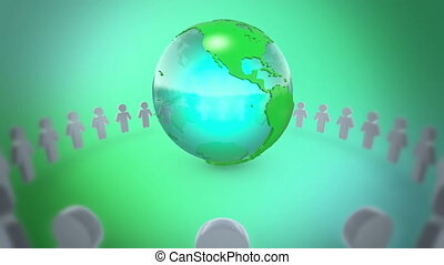 People Holding Hands Around Earth