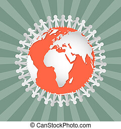 People Holding Hands Around Globe - Vector