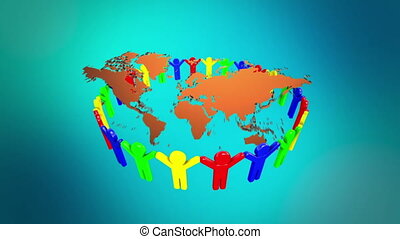 People Holding Hands Around the world map 3d