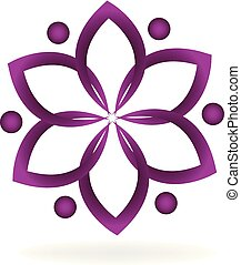 People holding hands doing a lotus flower logo