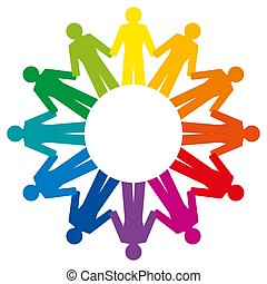 People holding hands, forming a rainbow circle, abstract symbol