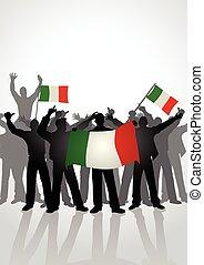 People Holding Italian Flags