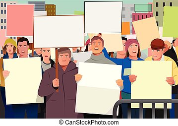 People Holding Pamphlet in Demonstration Illustration
