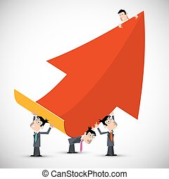 People Holding Red Paper Arrow. Vector Business Symbol.