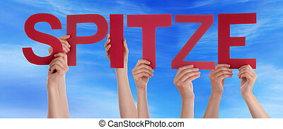 People Holding Straight German Word Spitze Means Super Blue...