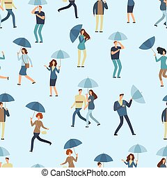 People holding umbrella, walking outdoor in rainy spring or fall day. Man, woman in raincoat seamless pattern