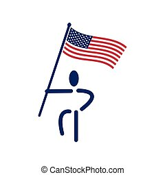 People holding US flags sign illustration. Vector Illustration on white background