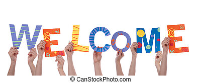 Many People Holding the Colorful Word Welcome, Isolated