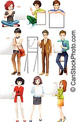 People holding white paper illustration