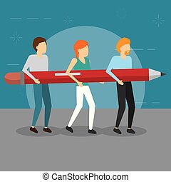 people holding wooden pencil supply vector illustration