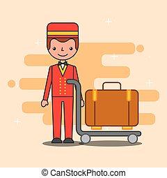 people hotel service - hotel service bellboy trolley luggage...