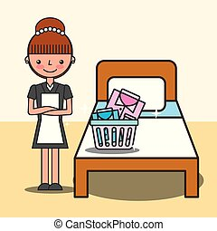 people hotel service - hotel service maid girl laundry ...