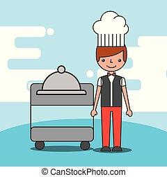 people hotel service - hotel waiter boy tray service...