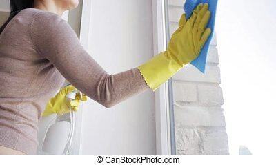 woman in gloves cleaning window with rag