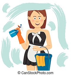 people, housework and housekeeping concept - happy woman in gloves cleaning window with cleanser spray, bucket with rag at home