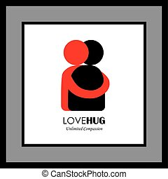 people hug each other, friends embrace - vector graphic