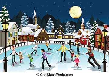People ice skating - A vector illustration of people ice...