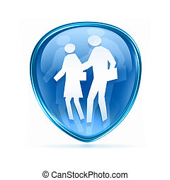 people icon blue, isolated on white background