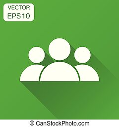 People icon. Business concept user pictogram. Vector illustration on green background with long shadow.