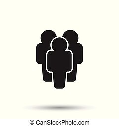 People icon. Flat vector illustration. People sign symbol with shadow on white background.