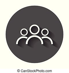 People icon. Flat vector illustration with long shadow.