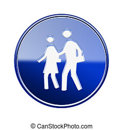 People icon glossy blue, isolated on white background