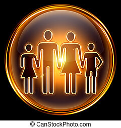 People icon golden, isolated on black background.