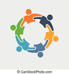 People icon. Group of 6 persons in circle