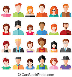 People Icon - illustration of colorful flat design people ...