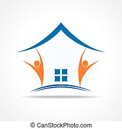 People icon make a home stock vector