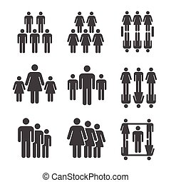 people icon - people, population icon set