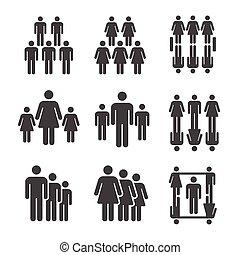 people, population icon set