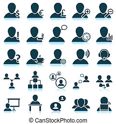 People icon set - Office and people icon set. Vector ...