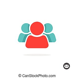 People icon vector isolated, group of three persons logo, leader