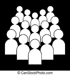 People icon, white on a black background, vector illustration.