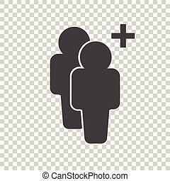 People icon with plus glyph. Flat vector illustration