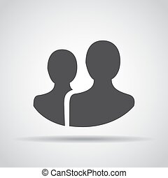 People icon with shadow on a gray background. Vector illustration