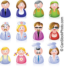 12 people icons: clerks, laborers, doctors, glamorous couple, children, and cooks!