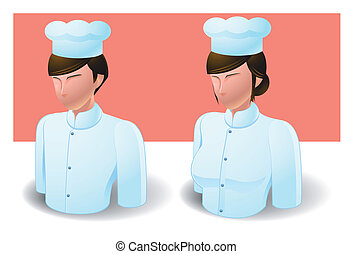 people icons : chef male and female