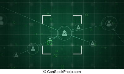 People icons connecting and scope on a green background