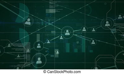 People icons, connecting lines and data in white moving on green background