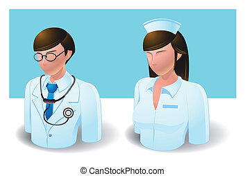 people icons : doctor and nurse - Illustration of people...