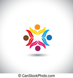 people icons, friends together, kids playing - concept vector icon. This graphic in circle also represents unity, solidarity, teamwork, friendship, eco team, children having fun